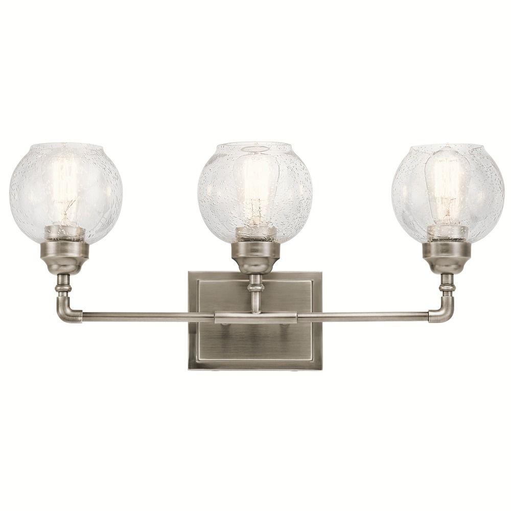 Seeded Glass Bathroom Light Pewter Kichler Lighting 45592ap Destination Lighting