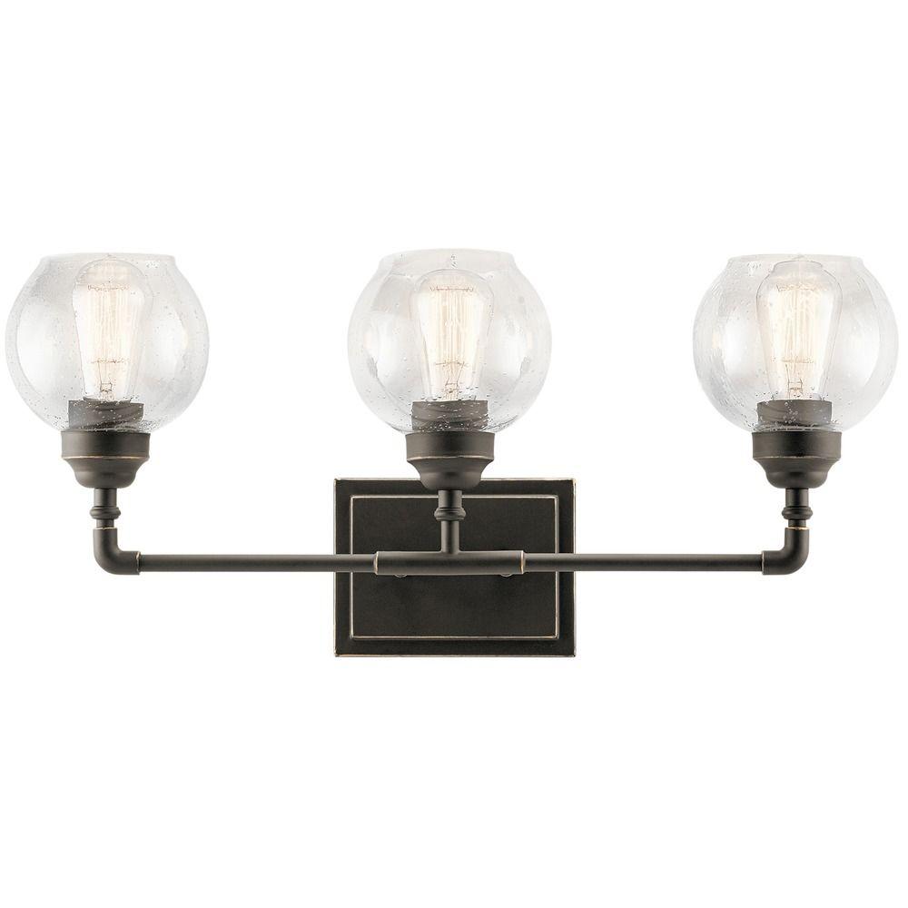 Seeded Glass Bathroom Light Bronze Kichler Lighting 45592oz Destination Lighting