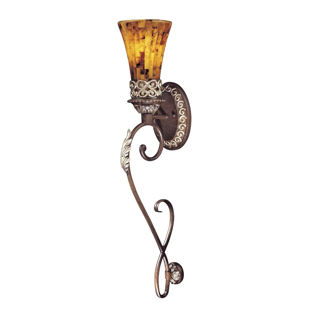 Amber Glass Wall Lights : Sconce Wall Light with Amber Glass in Cattera Bronze Finish N6521-468 Destination Lighting