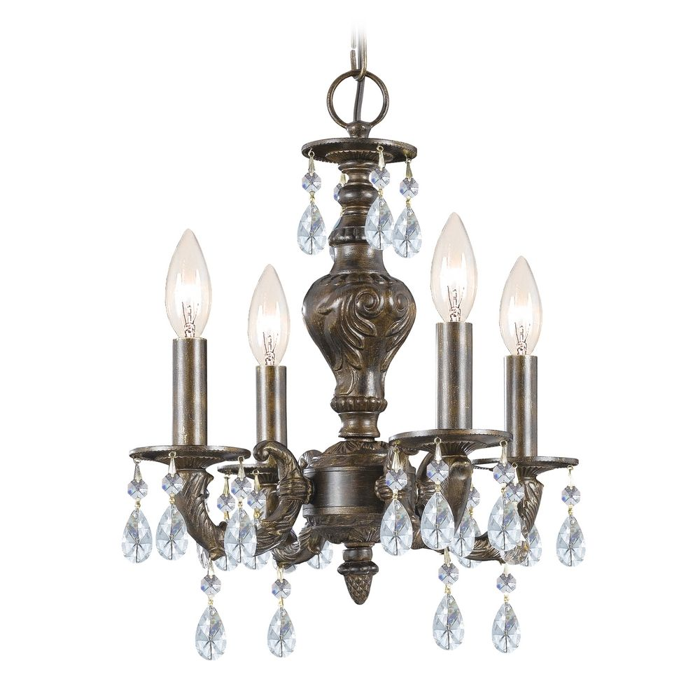 Venetian Bronze Chandelier: Crystal Mini-Chandelier In Venetian Bronze Finish
