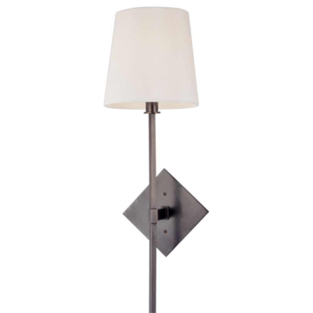 Bronze Tall Wall Sconce with Barrel White Shade 211-OB Destination Lighting