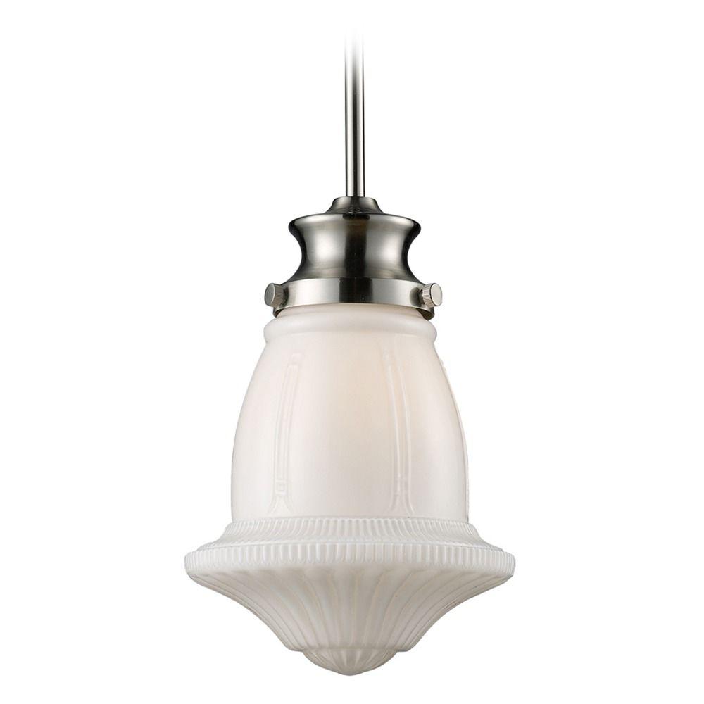 Elk Lighting Schoolhouse Pendants Satin Nickel LED Mini