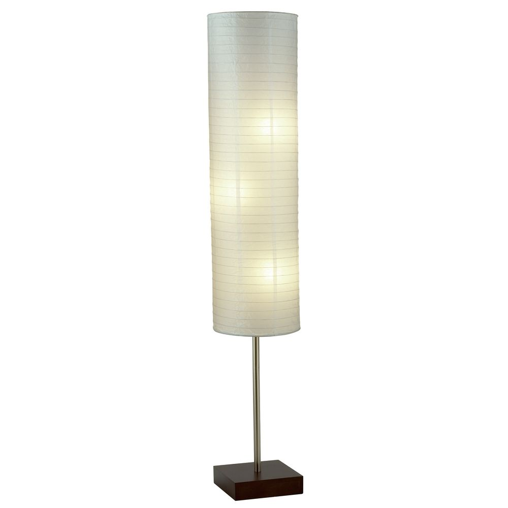 modern floor lamp with white paper shades in walnut finish 4099 15. Black Bedroom Furniture Sets. Home Design Ideas