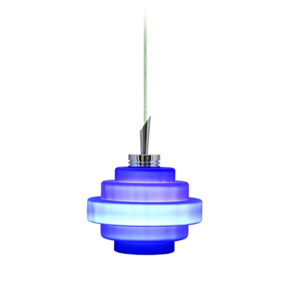 modern low voltage mini pendant light with blue glass