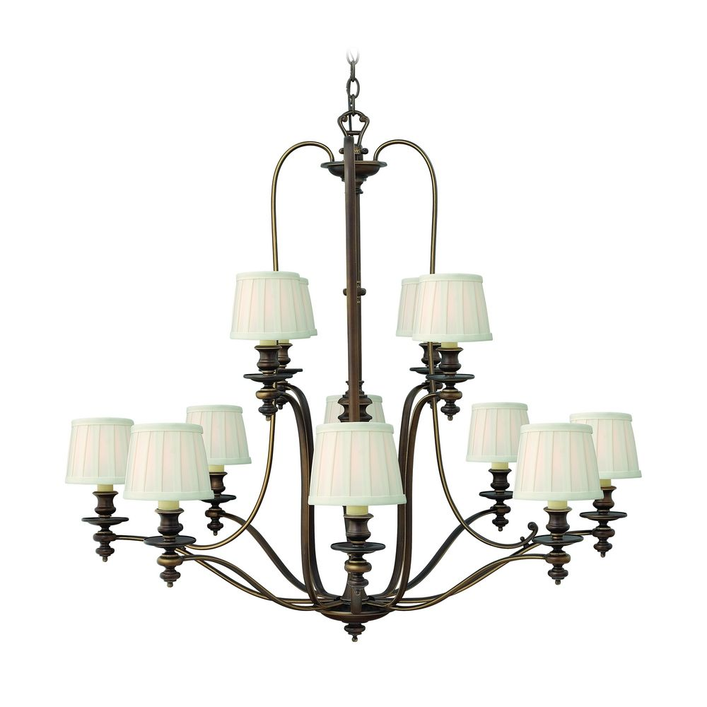 Chandelier with white shades in royal bronze finish 4599ry destination lighting - White chandelier with shades ...