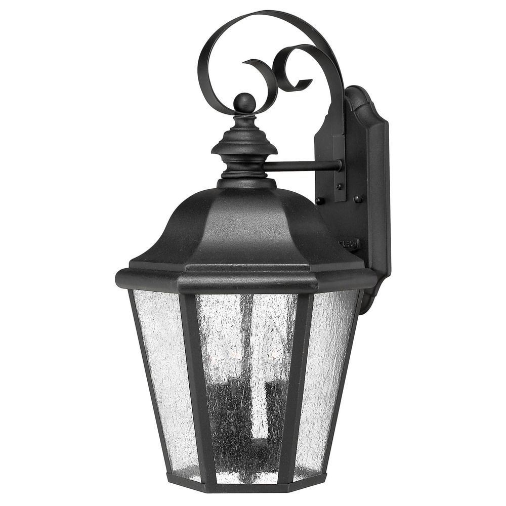Hinkley Outdoor Wall Light: Seeded Glass Outdoor Wall Light Black Hinkley Lighting