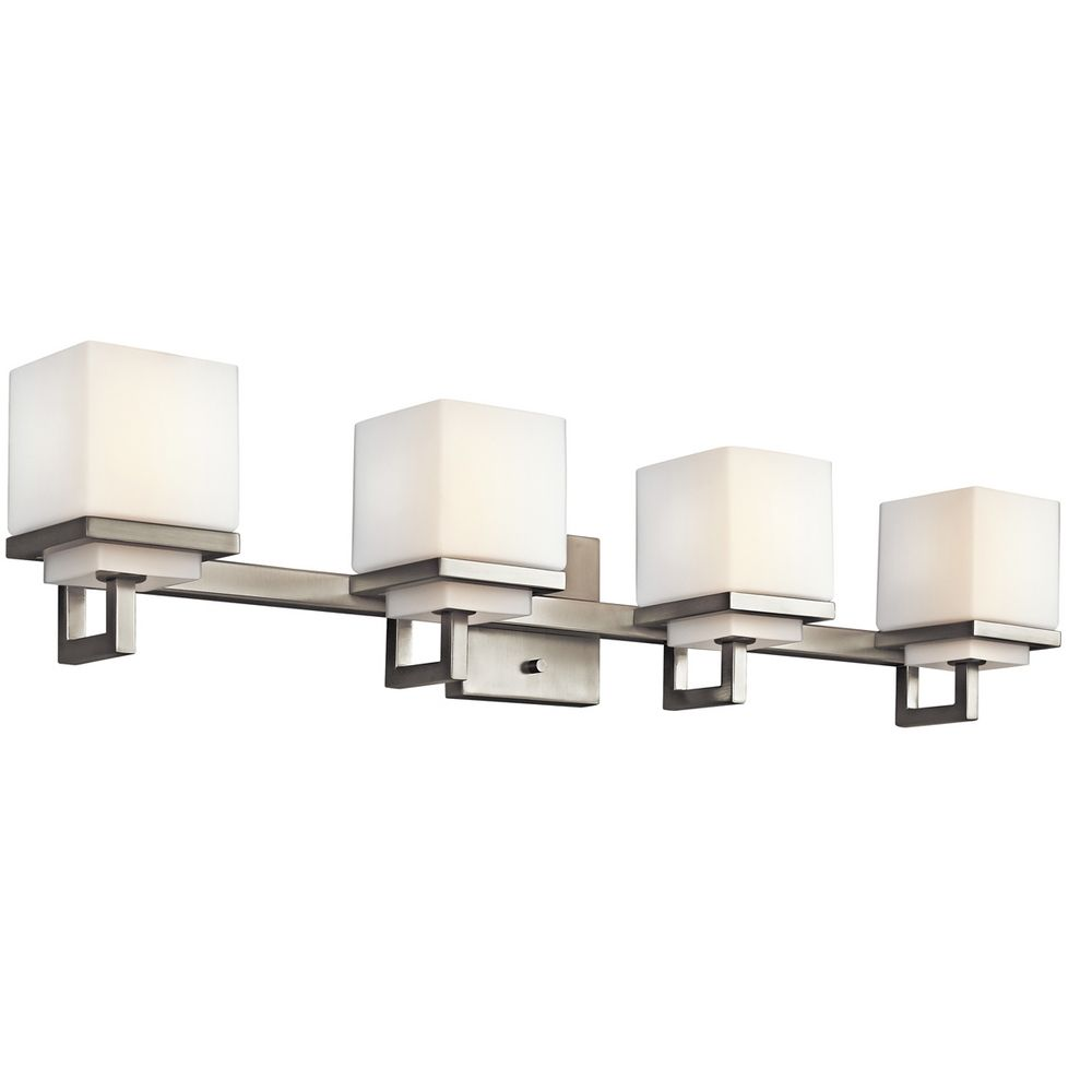 Kichler brushed nickel modern bathroom light with white for Contemporary bathroom vanity lighting