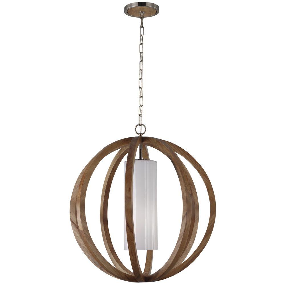 Feiss Lighting Allier Light Wood Brushed Steel Pendant