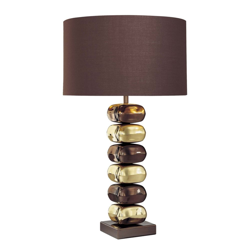 Modern Table Lamp With Brown Tones Shade In Chocolate
