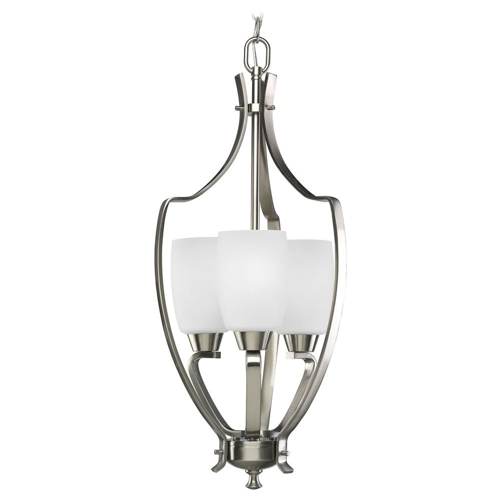 Progress Pendant Light With White Glass In Brushed Nickel