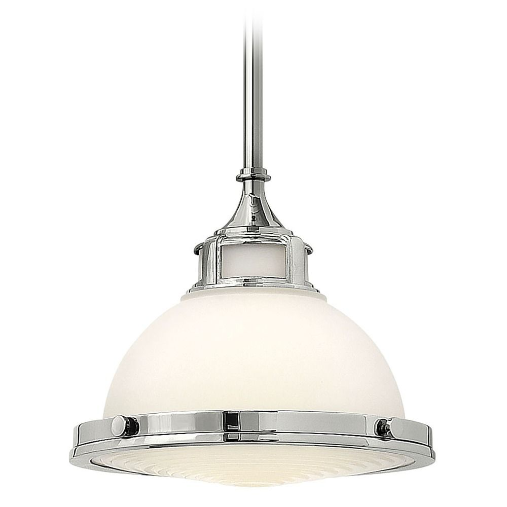 Pendant Light With White Glass In Chrome Finish 3127cm