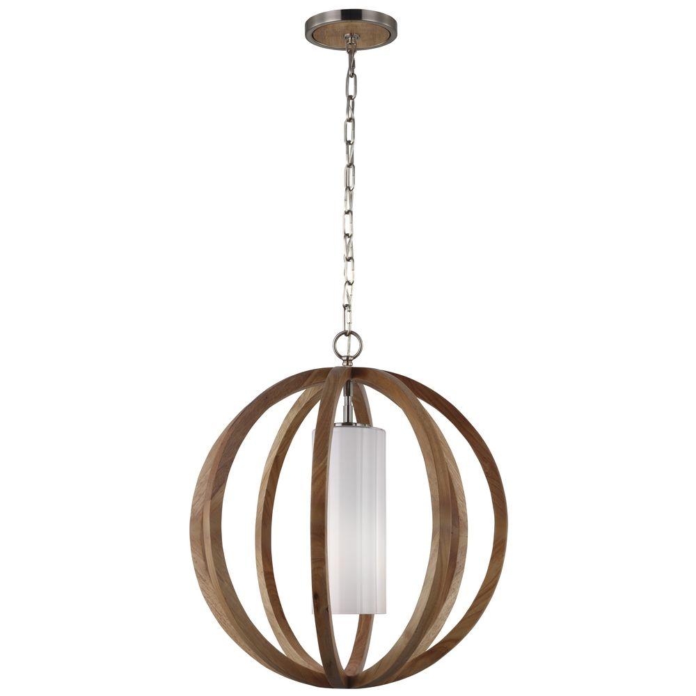 feiss lighting allier light wood brushed steel pendant light with cylindrical shade alt1 - Feiss Lighting