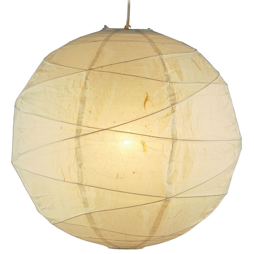 Modern Pendant Light With Beige Cream Paper Shade In Natural Finish 4161 12 Destination