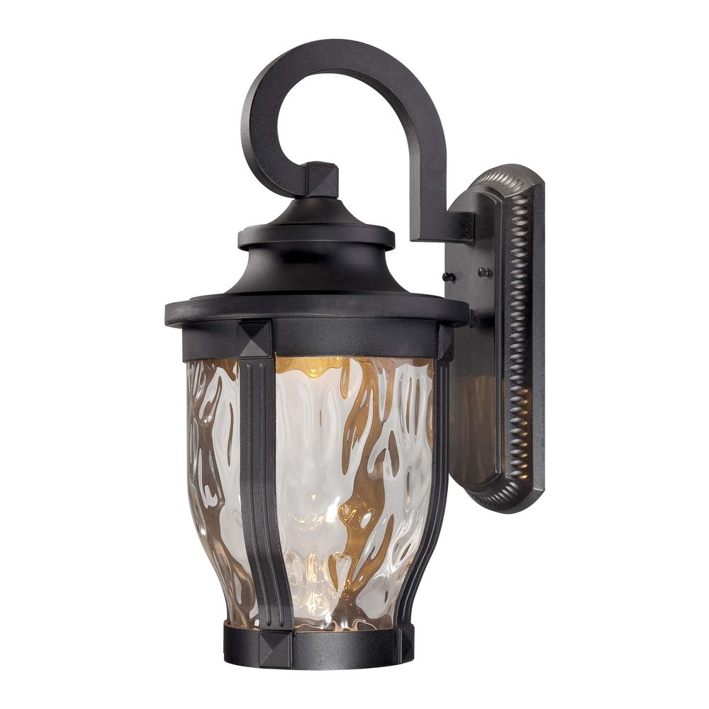 Led Outdoor Wall Light With Clear Glass In Black Finish