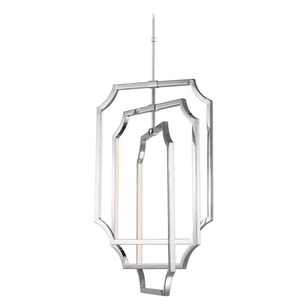 feiss lighting audrie polished nickel led pendant light