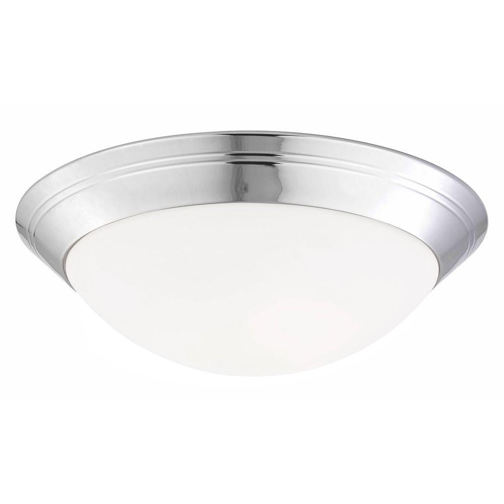 Chrome Flush Ceiling Light 16-Inch Wide | 1016-26/W | Destination ...