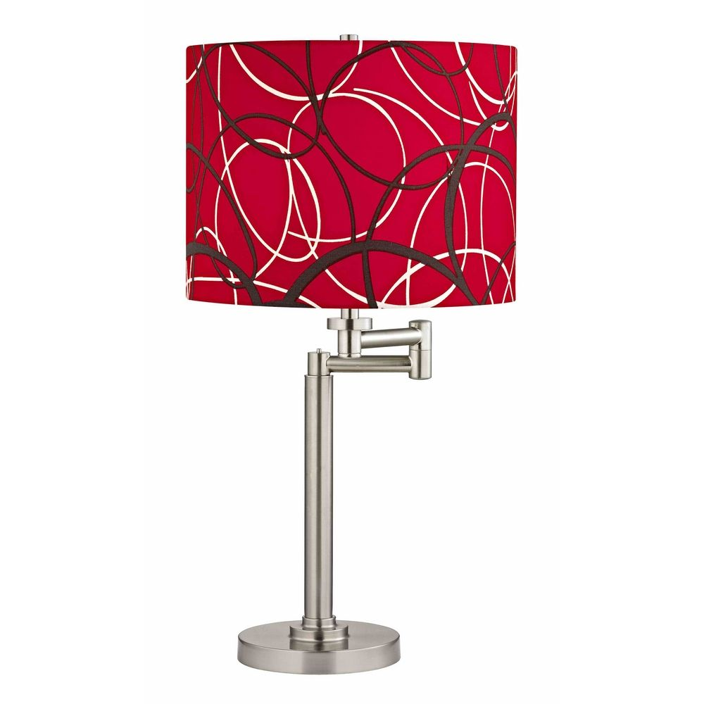 swing arm table lamp with red and grey drum shade 1902 09 sh9518. Black Bedroom Furniture Sets. Home Design Ideas