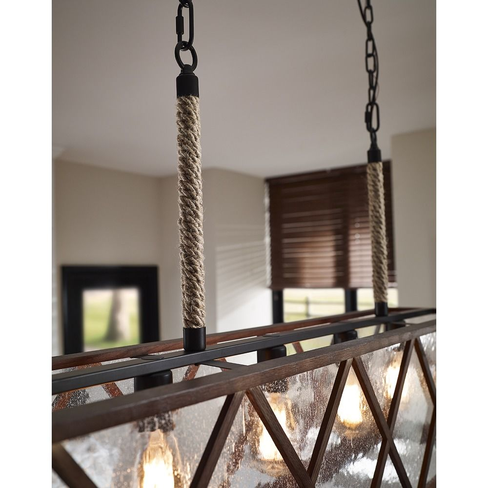 Seeded Gl Island Light Weathered Oak Oil Rubbed Bronze Feiss Lighting Rm2