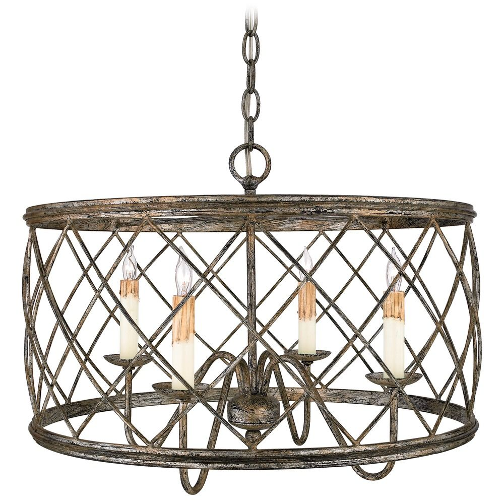 Drum Pendant Light With Silver Cage Shade In Century