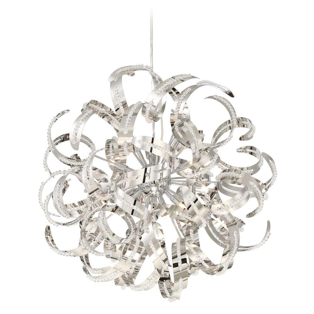 mid century modern pendant cluster light chrome ribbons by quoizel