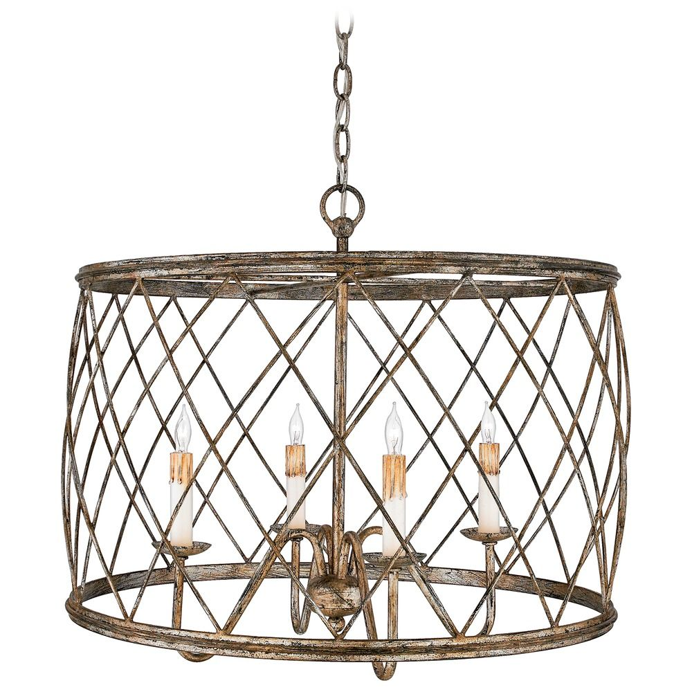 Drum Pendant Light With Silver Cage Shade Century Leaf Finish