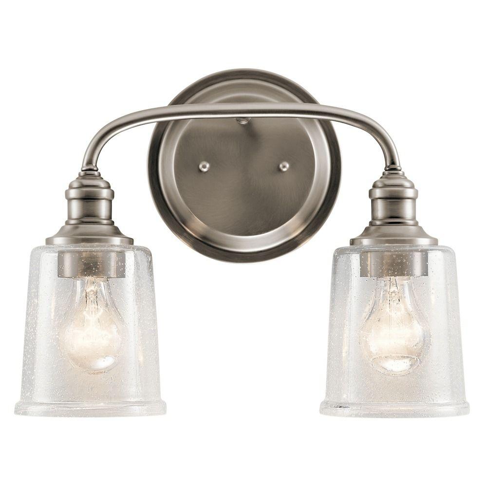 Seeded Glass Bathroom Light Pewter Kichler Lighting CLP - Kichler bathroom sconces