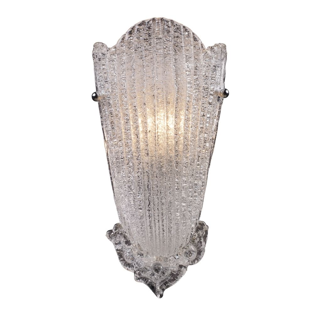 Sconce Wall Light with Clear Glass in Antique Silver Leaf Finish 1510/1 Destination Lighting
