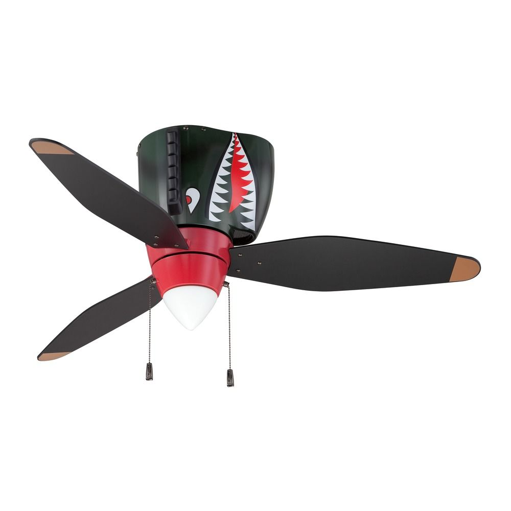 Craftmade Lighting Warplanes Tiger Shark Ceiling Fan With Light Wb348ts3 Destination Lighting