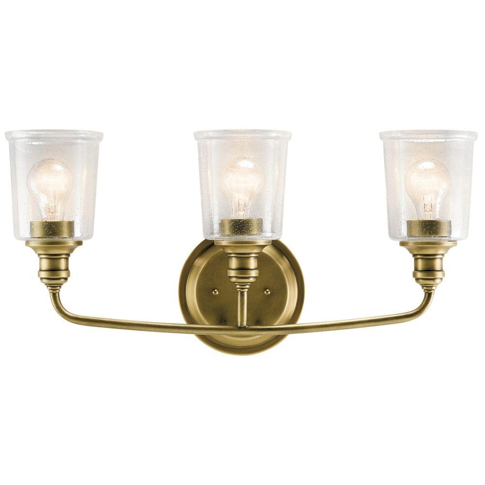 Seeded Glass Bathroom Light Brass Kichler Lighting 45747nbr Destination Lighting