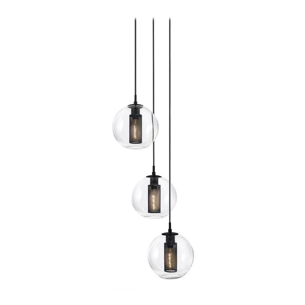 Mid century modern multi light pendant light black tribeca for Sonneman lighting