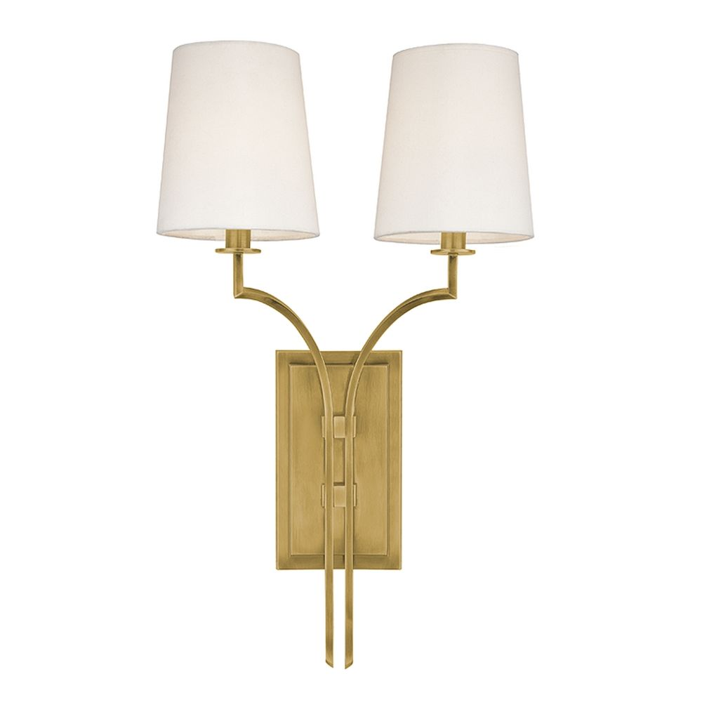Hudson Valley Emergency Lighting: Sconce Wall Light With White Shades In Aged Brass Finish