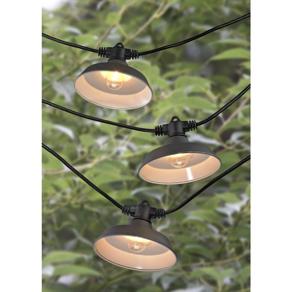 7-Light Outdoor String Light with Bronze RLM Shades - 35 Feet Long 357 S358-EBZ Destination ...