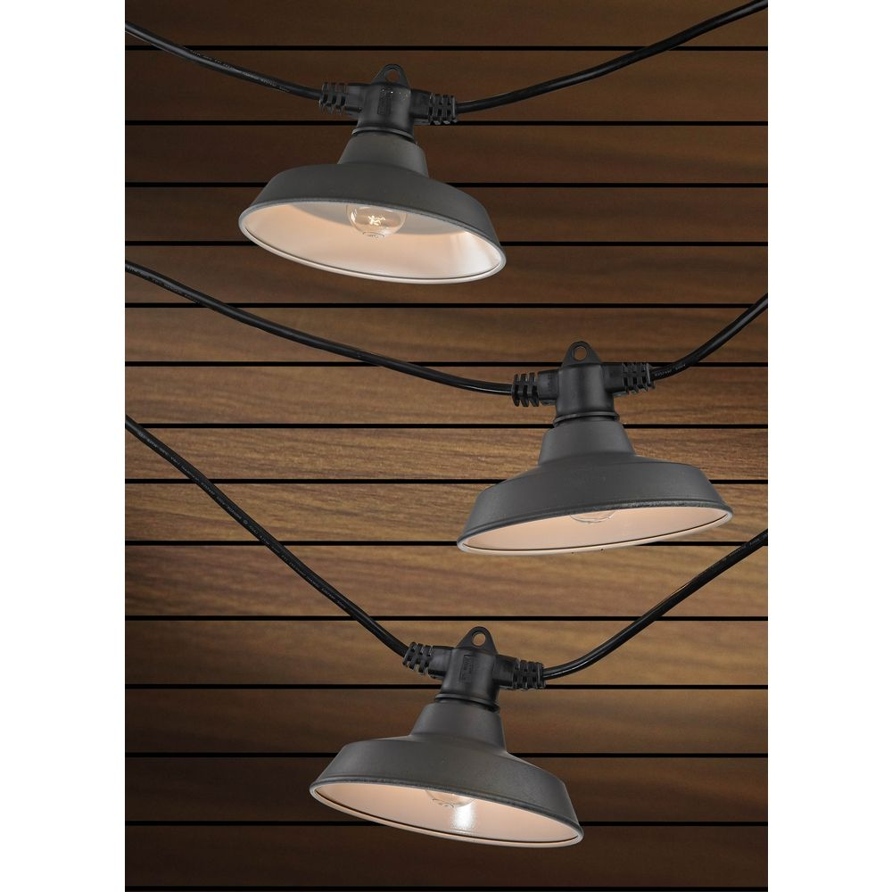 String Lights With Metal Shades : 7-Light Outdoor String Light with Bronze RLM Shades - 35 Feet Long eBay
