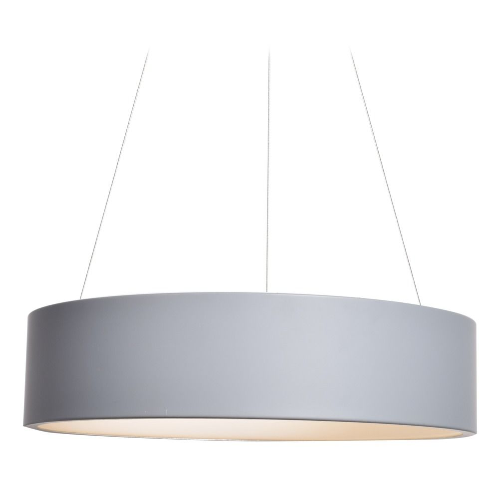 Gray Led Pendant Light With Drum Shade