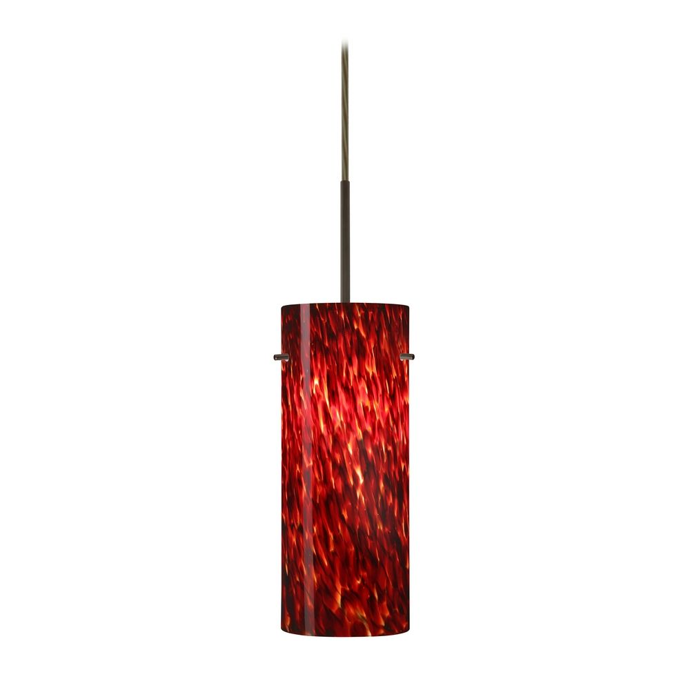 Modern Red Pendant Lighting : Modern pendant light with red glass in bronze finish jt