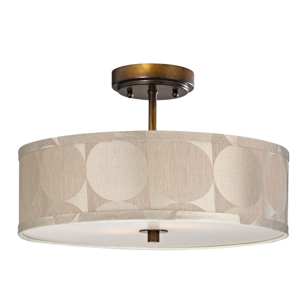 bronze drum shade semi flush ceiling light 16 inches