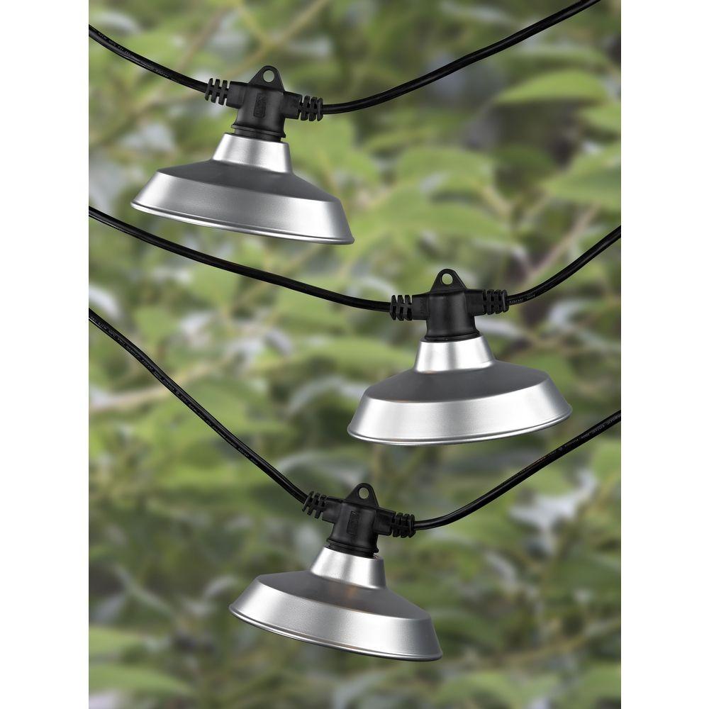 7-Light Outdoor String Light with Galvanized RLM Shades - 35 Feet Long 357 S358-GP ...