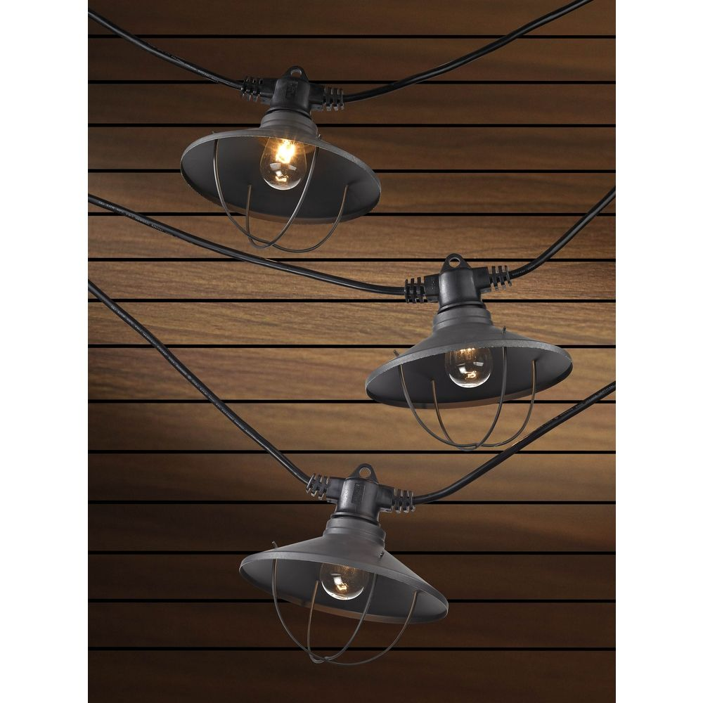caged lighting. 7light outdoor string light with bronze caged cone shades 35ft long alt1 lighting
