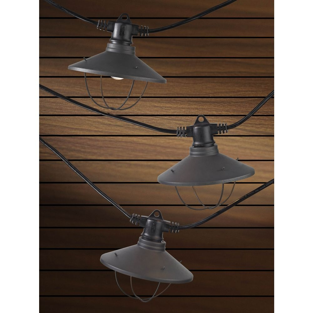 7-Light Outdoor String Light with Bronze Caged Cone Shades - 35ft Long eBay