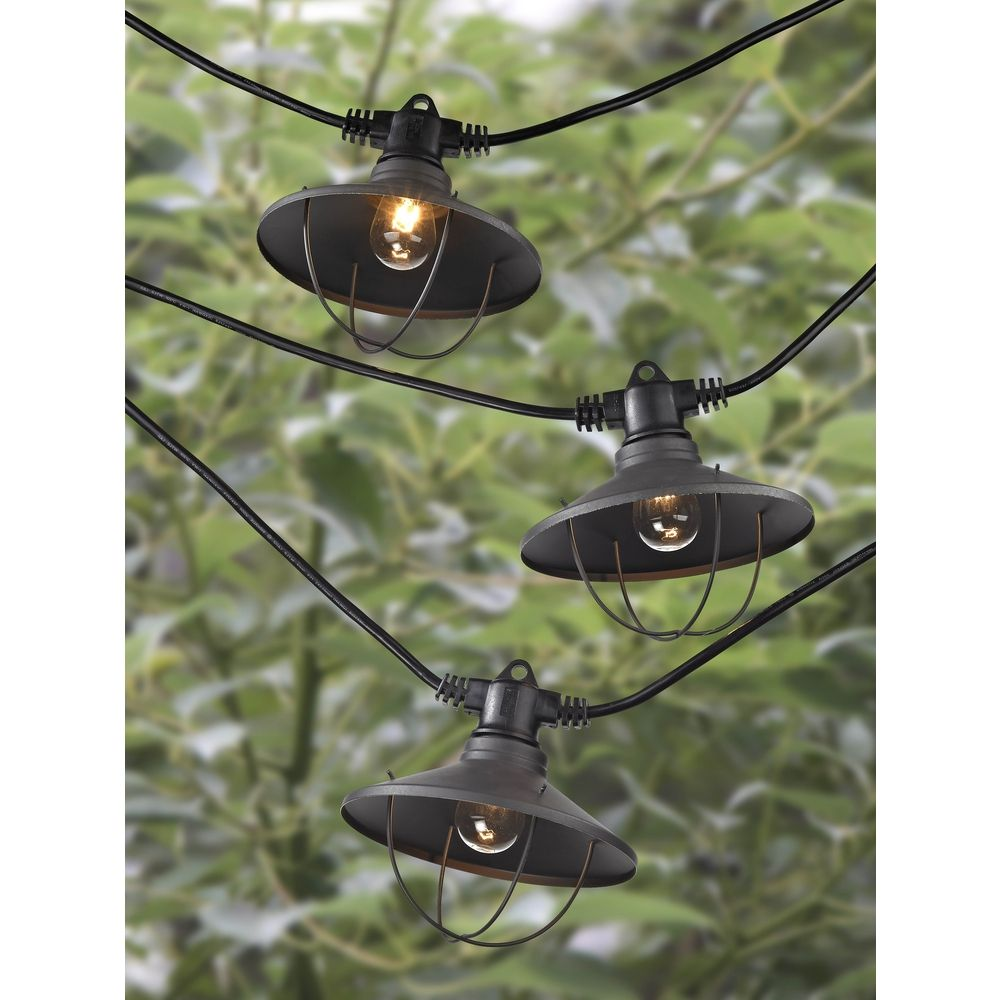 7-Light Outdoor String Light with Bronze Caged Cone Shades - 35ft Long 357 S359-EBZ ...