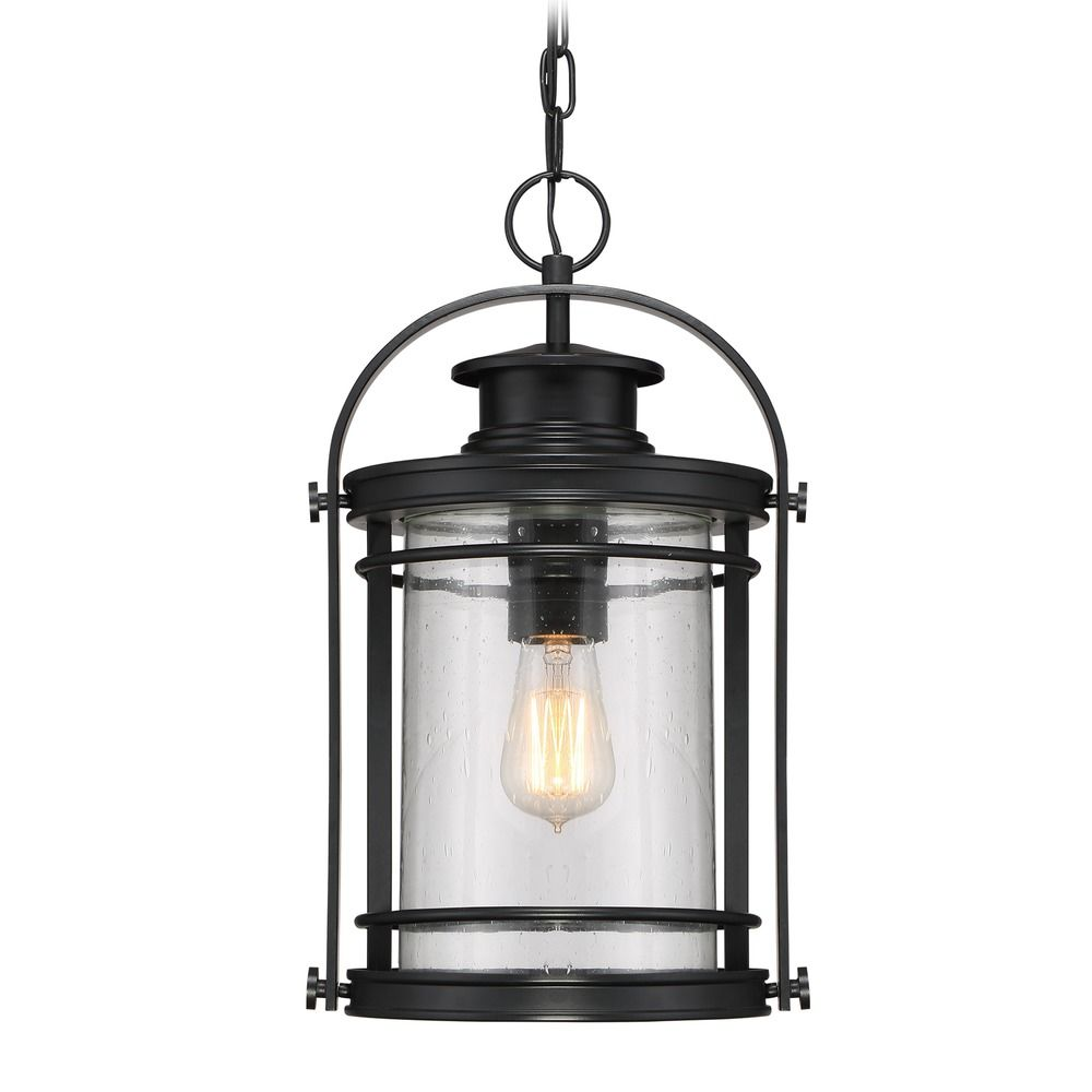 Seeded Glass Outdoor Hanging Light Black Quoizel Lighting ...