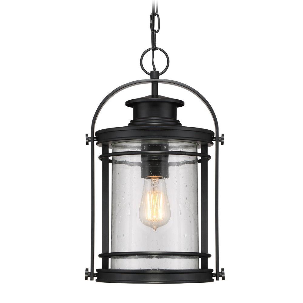 Hanging Light Bulbs Outdoor: Seeded Glass Outdoor Hanging Light Black Quoizel Lighting
