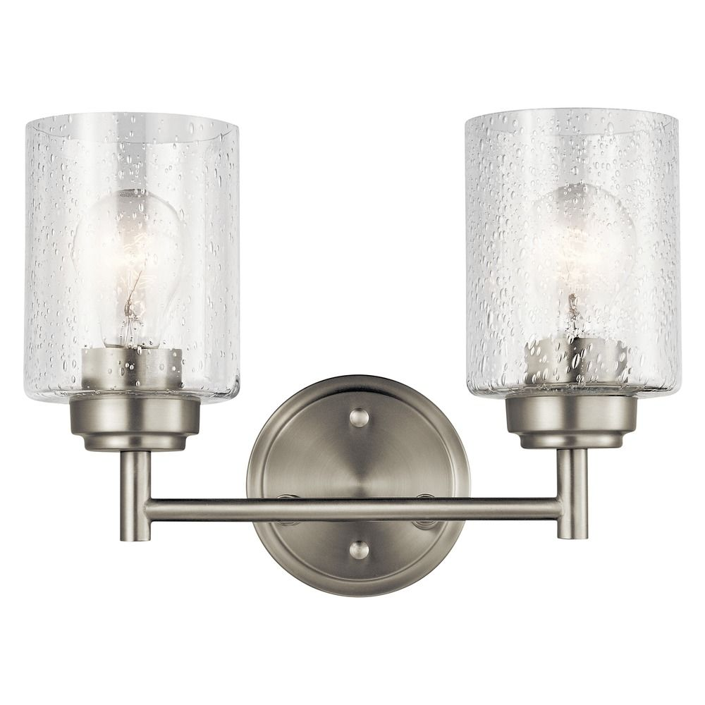 Kichler Lighting: Seeded Glass Bathroom Light Brushed Nickel Winslow By