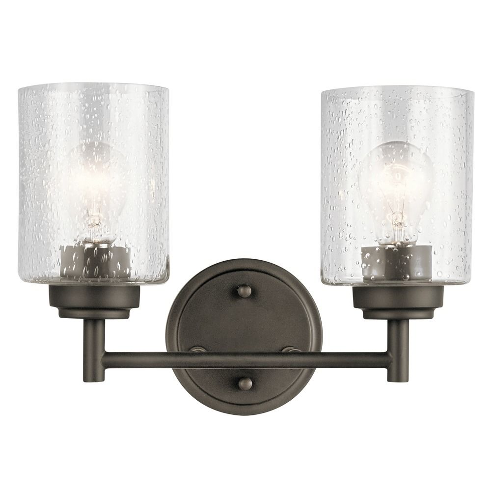 Seeded Glass Bathroom Light Olde Bronze Winslow By Kichler