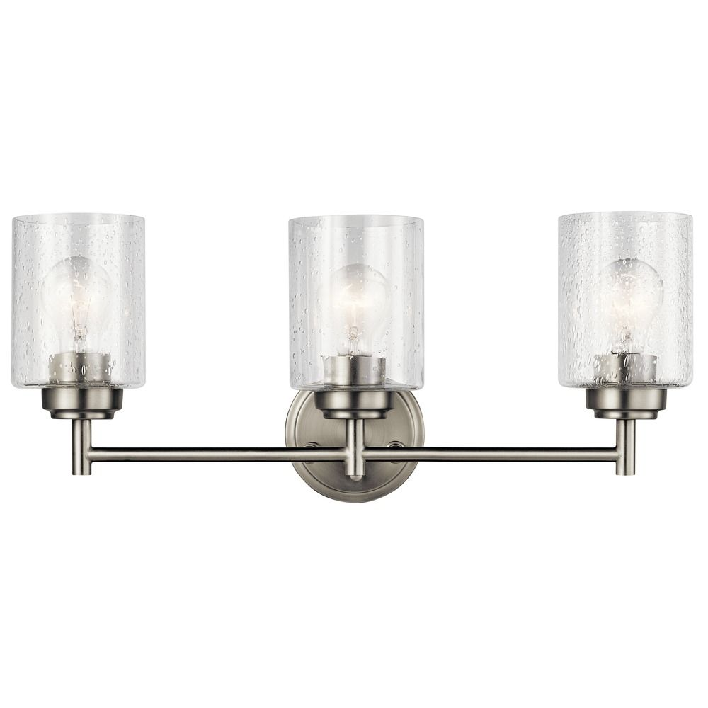 Seeded glass bathroom light brushed nickel winslow by kichler lighting 45886ni destination for Seeded glass bathroom lighting