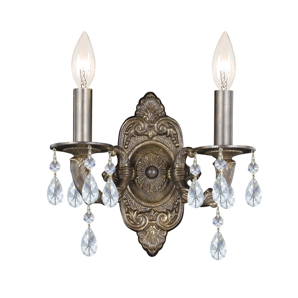 crystal sconce wall light in venetian bronze finish 5022 vb cl mwp destination lighting