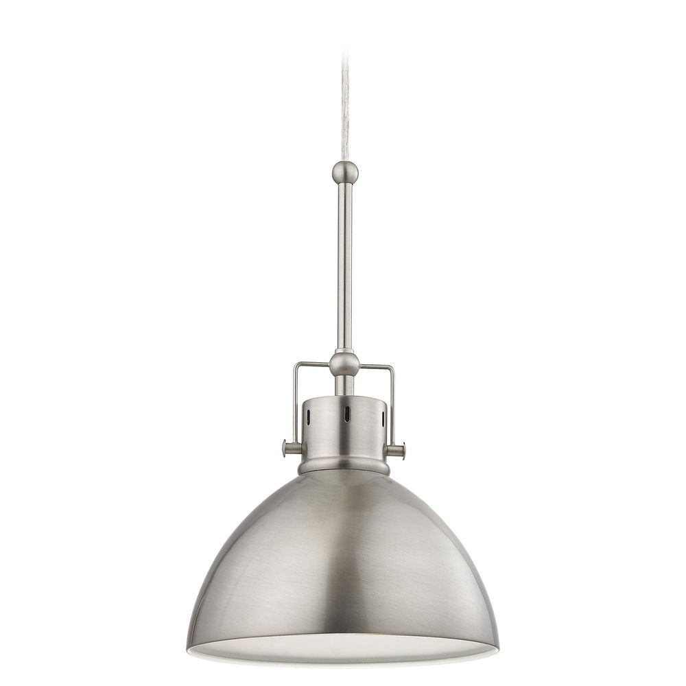 Satin Nickel Dome Metal Pendant Light Destination Lighting - Small pendant light fixtures for kitchen