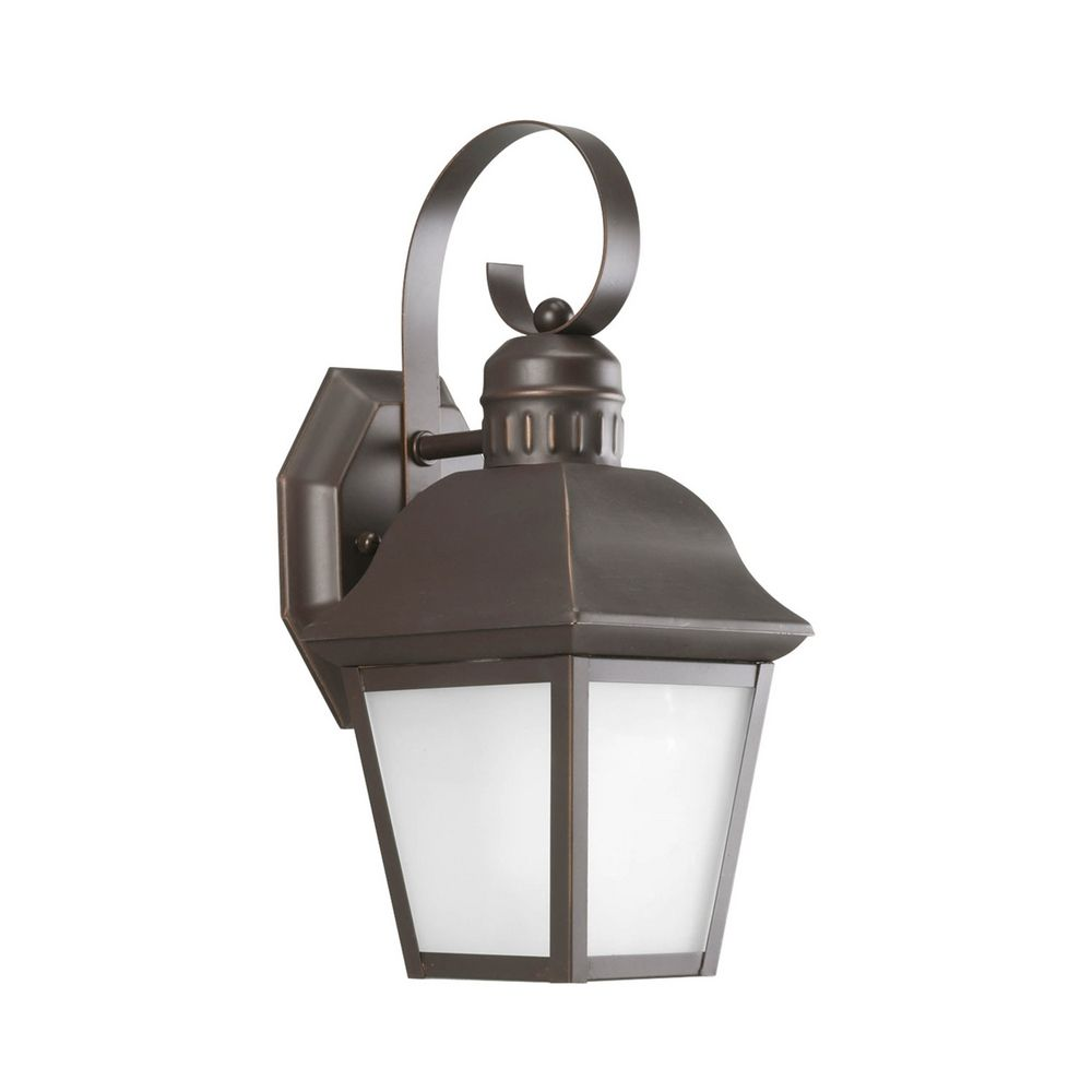 Bronze Glass Wall Lights : Outdoor Wall Light with White Glass in Antique Bronze Finish P5887-20 Destination Lighting