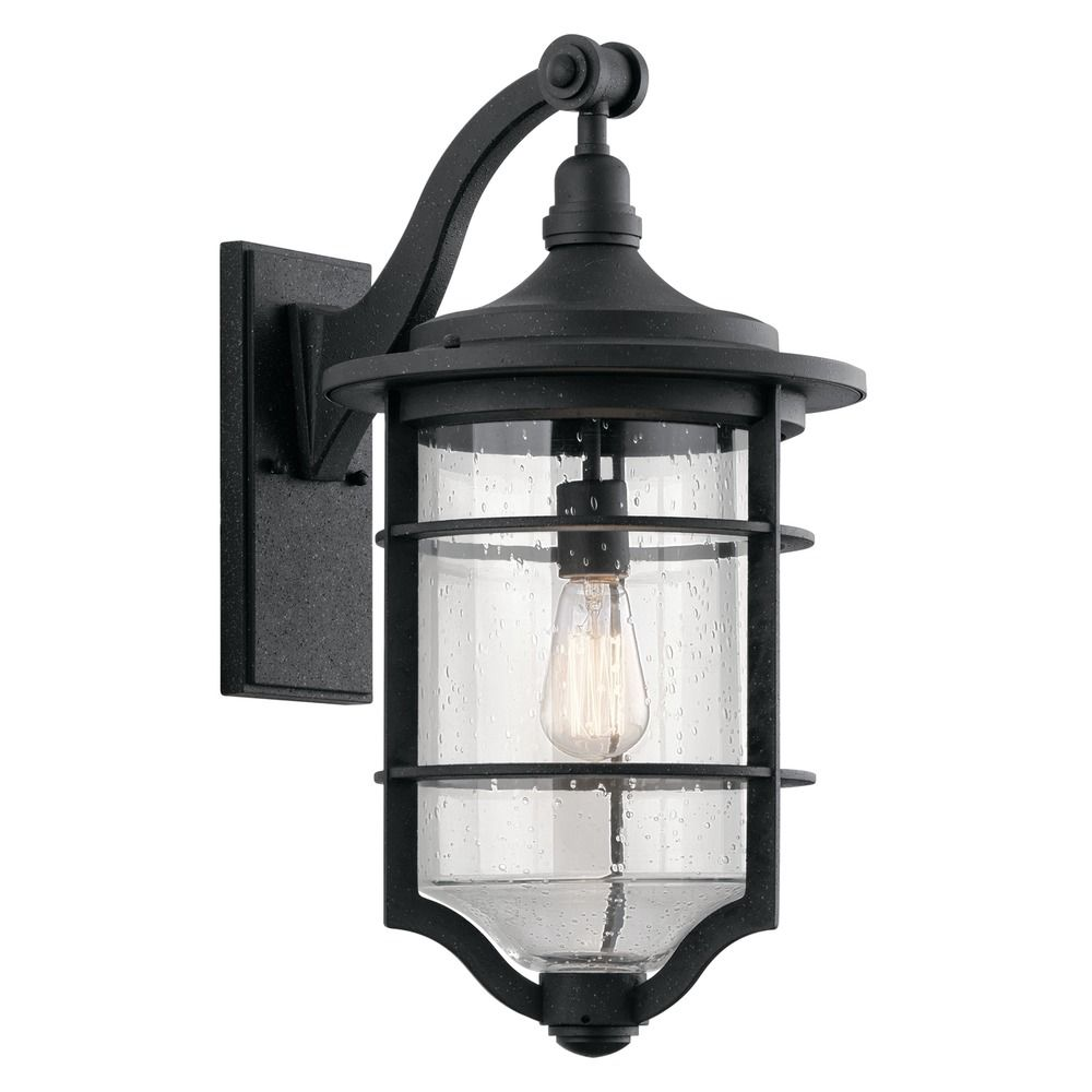 Kichler Lights Outdoor: Seeded Glass Outdoor Wall Light Black Kichler Lighting