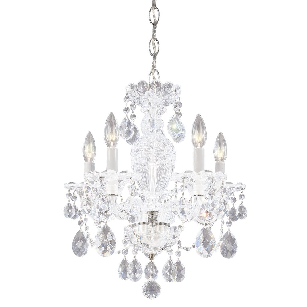 Schonbek 5 light crystal chandelier in polished silver j 2999 40h hover or click to zoom mozeypictures Image collections